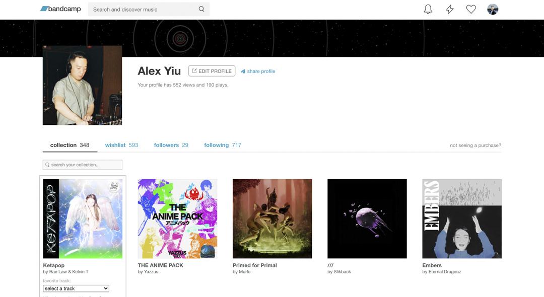 Bandcamp用戶展示自己的音樂收藏,讓別人追蹤你的音樂品味。
