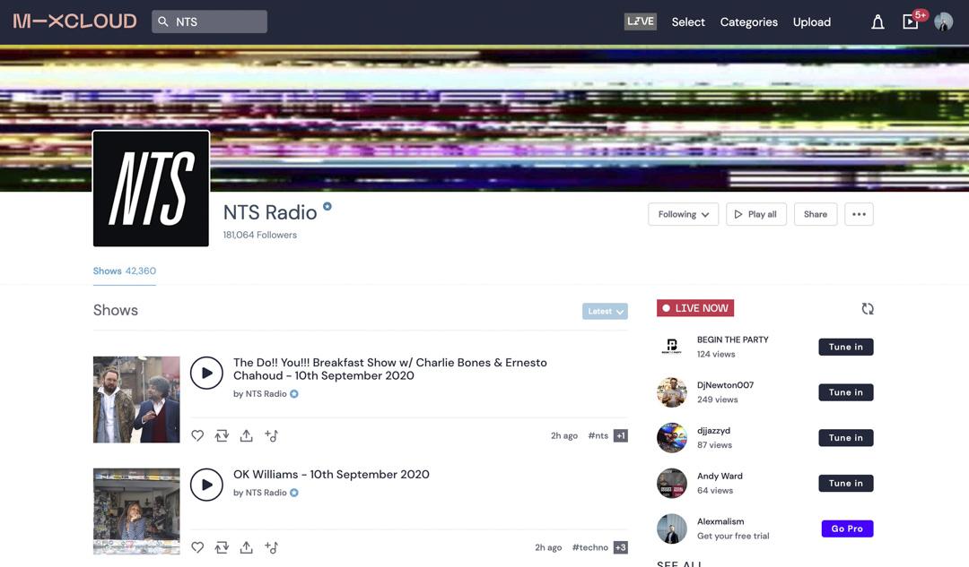 著名網絡音樂電台 NTS 在 Mixcloud 上有超過四萬多個節目錄音。