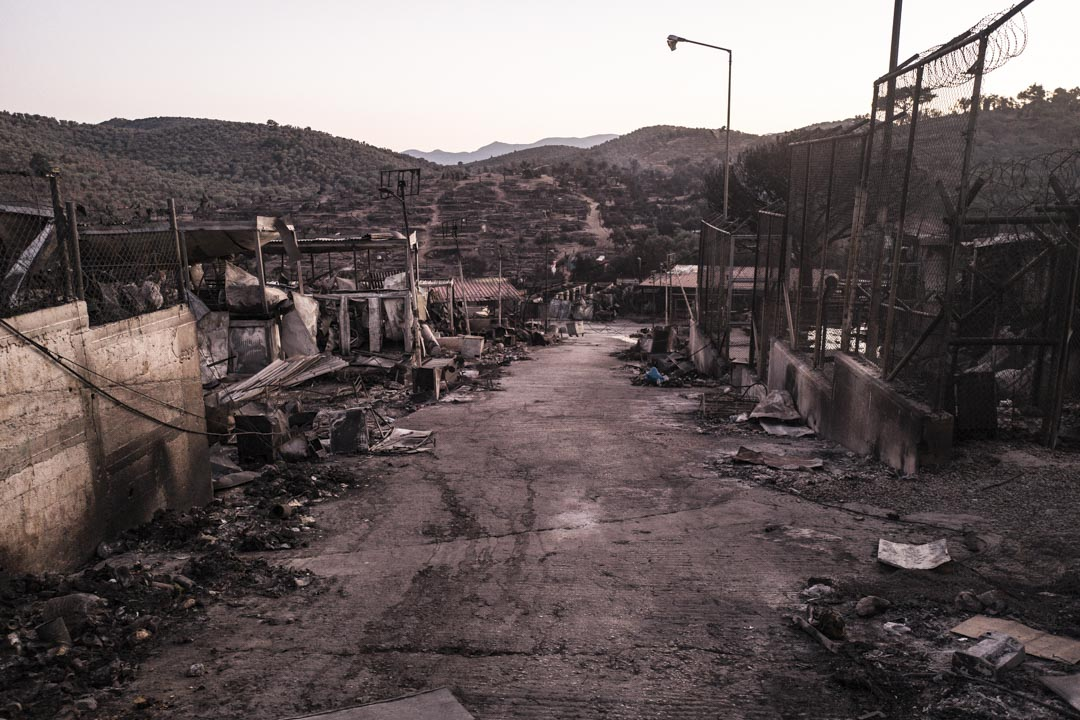 9月8日大火之後,莫里亞難民營的廢墟。