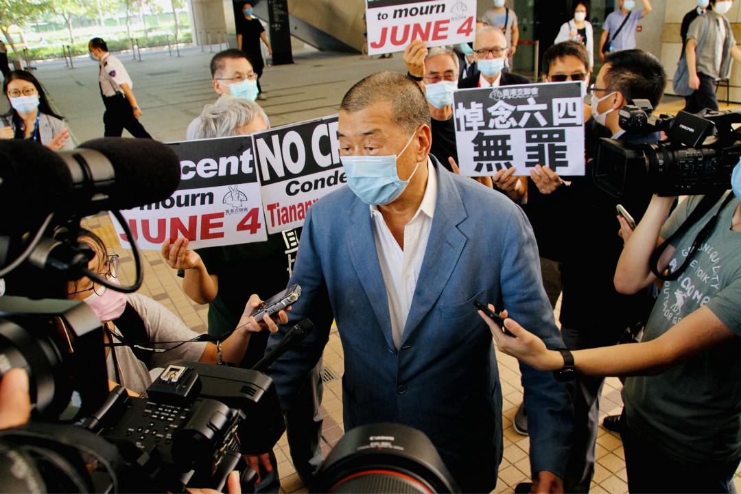 2020年10月15日,香港壹傳媒創辦人黎智英在西九龍法院出席聽證會。 攝:Tommy Walker/Getty Images