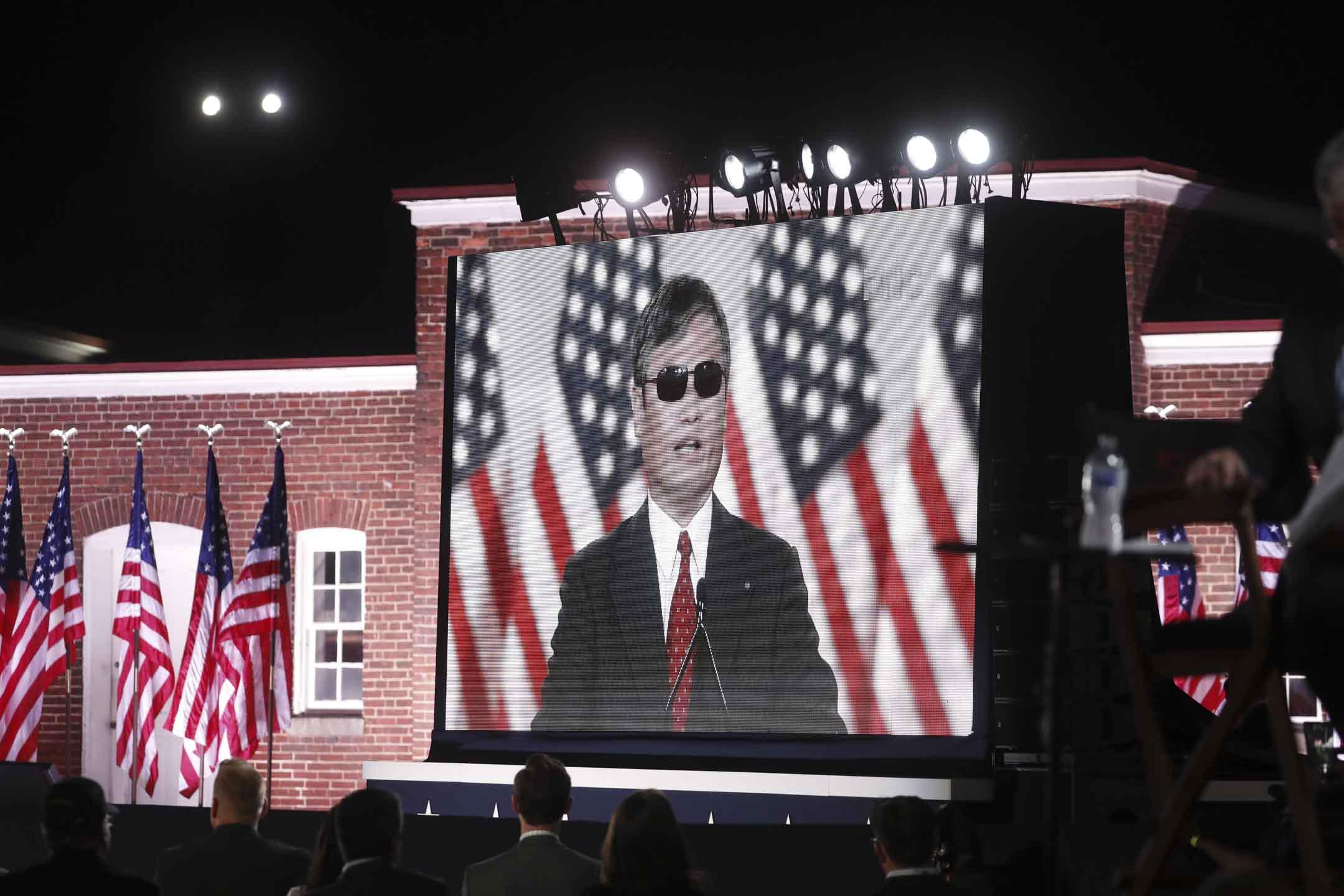 2020年8月26日,美國馬里蘭州的共和黨全國代表大會上,中國維權律師陳光誠發表演講。  攝:Al Drago/Bloomberg via Getty Images
