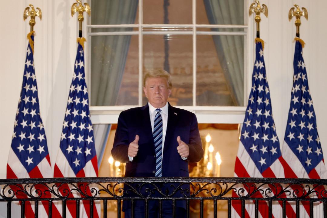 2020年10月5日,美國總統特朗普於住院第四天回到白宮。 攝:Win McNamee/Getty Image