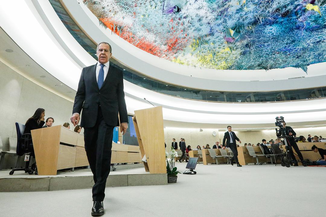 2020年2月25日,俄羅斯外長拉夫羅夫(Sergei Lavrov)出席聯合國人權理事會會議。 攝:Alexander Shcherbak / TASS via Getty Images