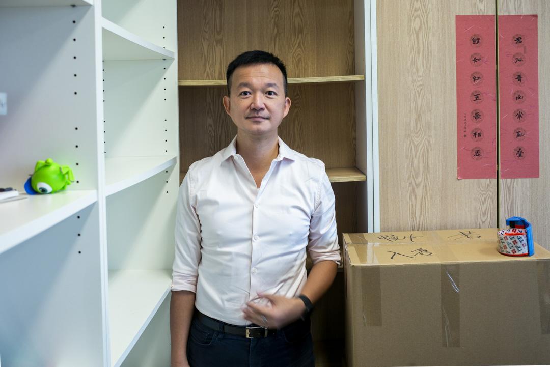 2020年9月30日,陳志全在擺滿了紙箱的議員辦公室。