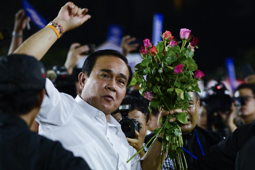 2019年3月22日泰國曼谷,泰國總理巴育·佔奧差參加人民國家力量黨的競選活動集會。