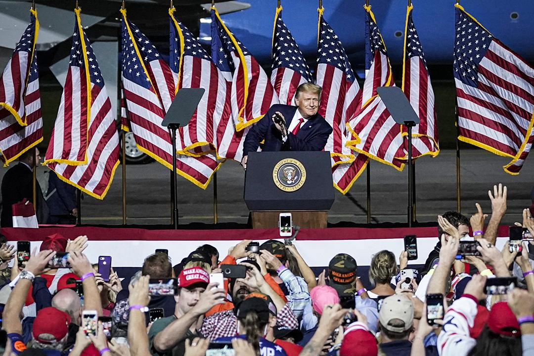 2020年9月25日弗吉尼亞州紐波特紐斯,美國總統特朗普於威廉斯堡國際機場舉行的競選集會上發表講話。