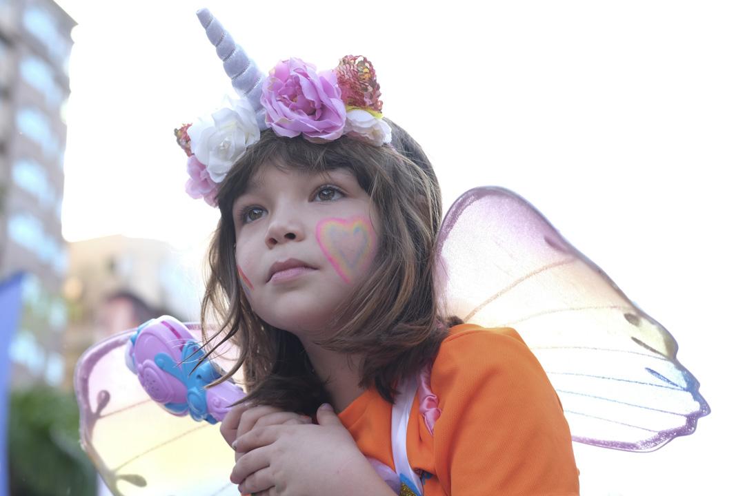 2020年10月31日,台灣同志遊行,一位小女孩打扮成天使。
