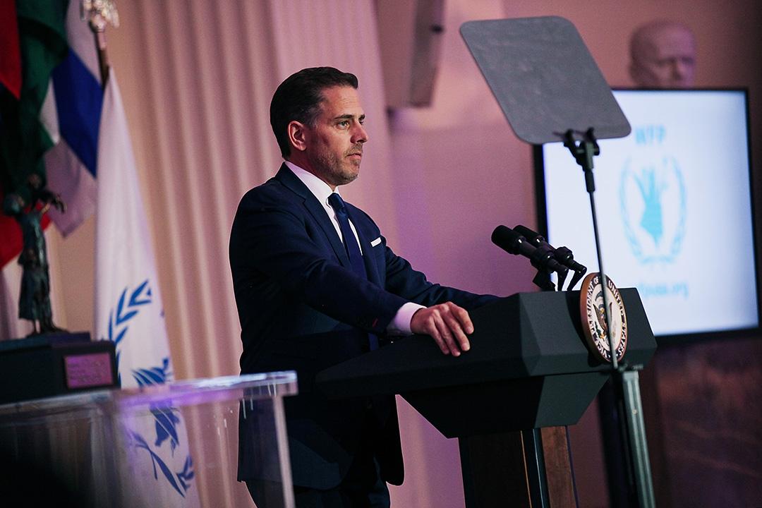 2016年4月12日華盛頓,亨特·拜登在世界糧食計劃署的頒獎典禮上演講。