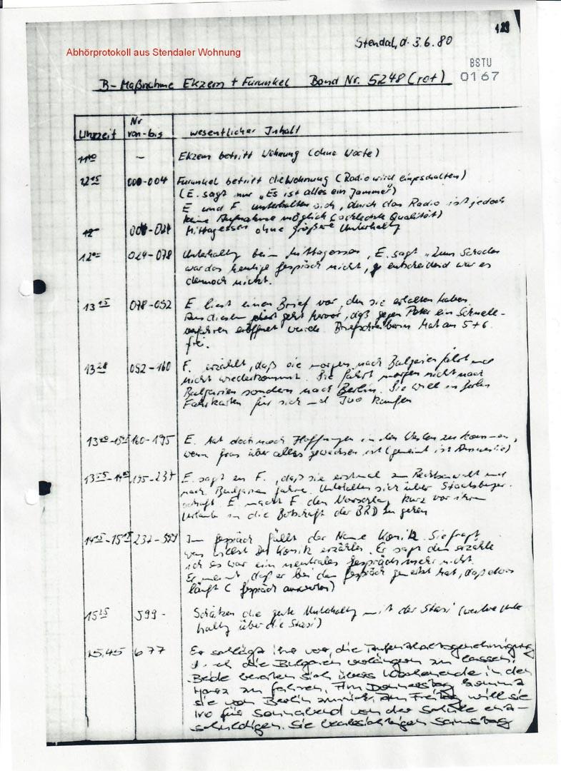 樓下斯塔西監控舒爾茨的記錄。
