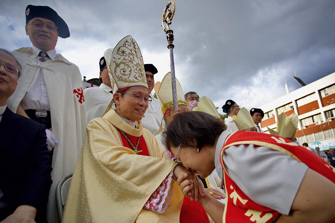 2020年7月18日新北市輔仁大學,台灣總統蔡英文出席天主教台北總教區總主教鍾安住就職大典。