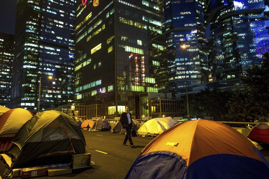 2014件11月20日,雨傘運動金鐘佔領現場。