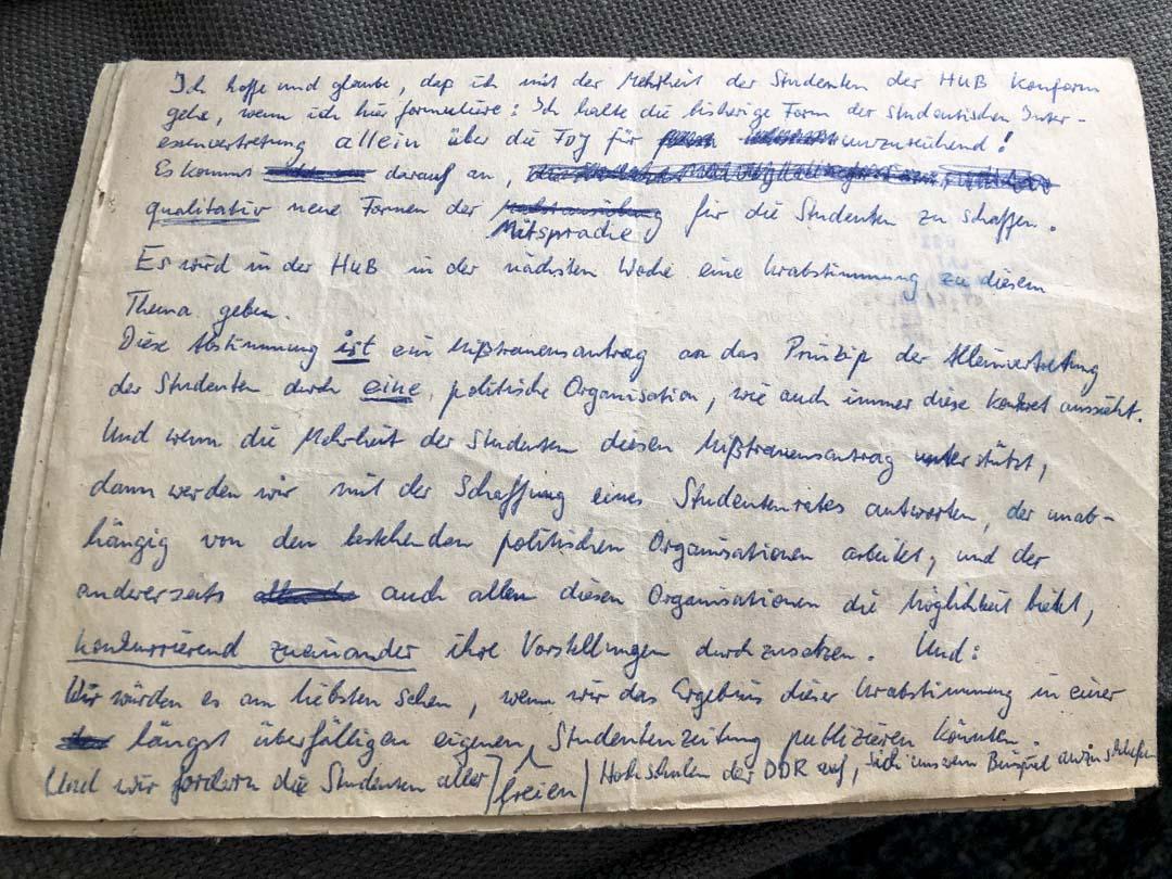 弗萊塔格的演講手稿。