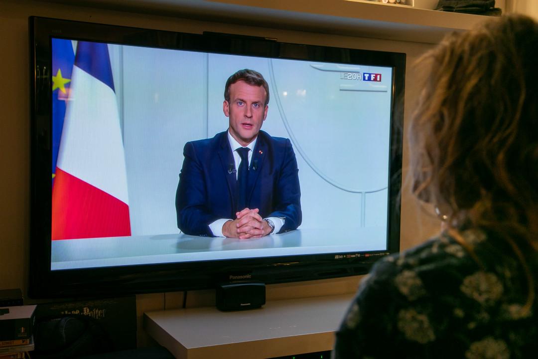 2020年10月28日,法國總統馬克龍發表電視講話,宣布週五凌晨起實施第二次全國封鎖。 攝:Marc Piasecki/Getty Images