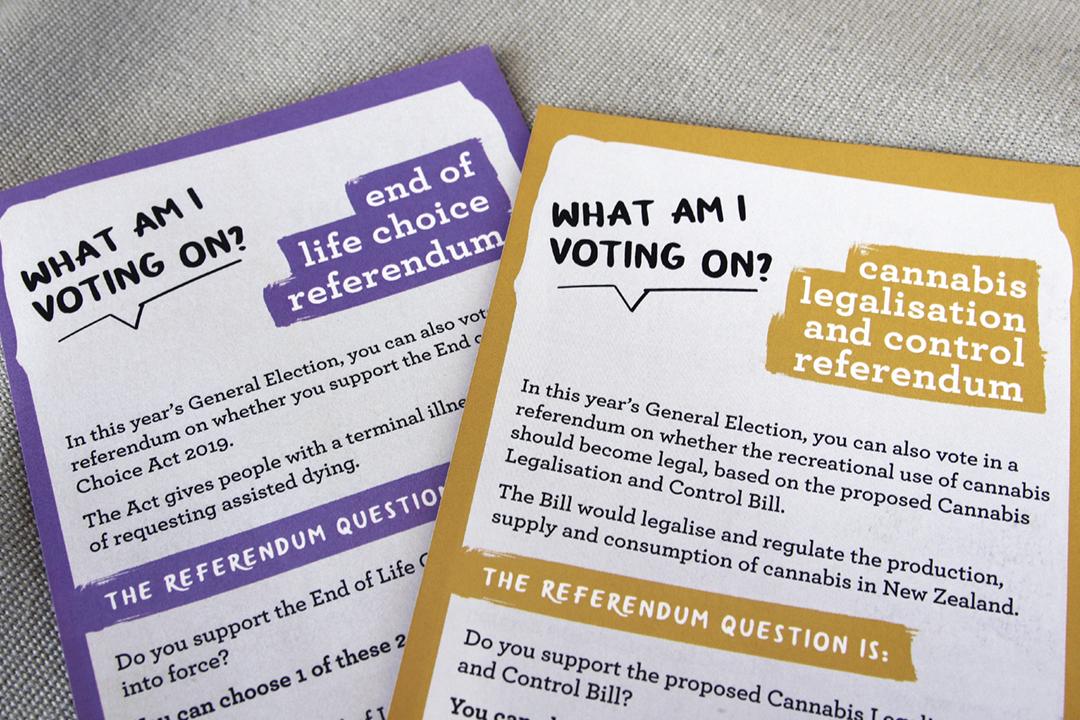 2020年9月,紐西蘭舉行大選,一併就安樂死及娛樂用大麻應否合法化舉行公投。 攝:Lynn Grieveson / Newsroom via Getty Images