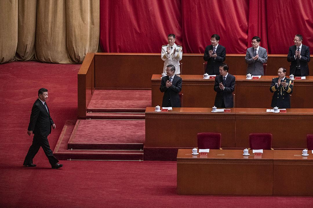 2020年10月23日中國北京,中國國家主席習近平在中國人民志願軍抗美援朝出國作戰70週年大會上發言。 攝:Kevin Frayer/Getty Images