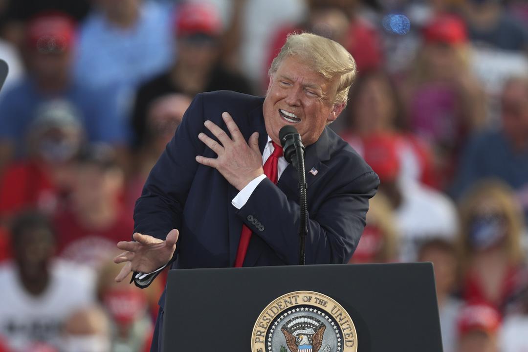 2020年10月16佛羅里達州奧卡拉,美國總統特朗普在奧卡拉國際機場舉行的競選活動中講話。