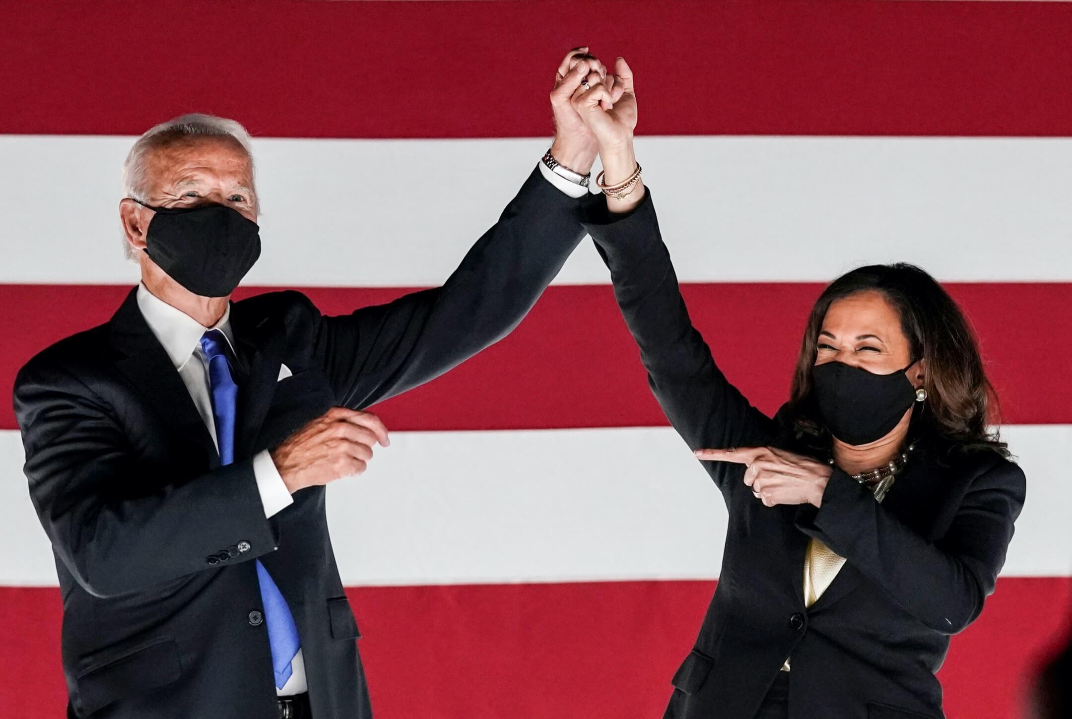 2020年8月20日,美國前副總統拜登與民主黨參議員賀錦麗,在民主黨全國代表大會上接受提名,成為民主黨總統選舉候選人。