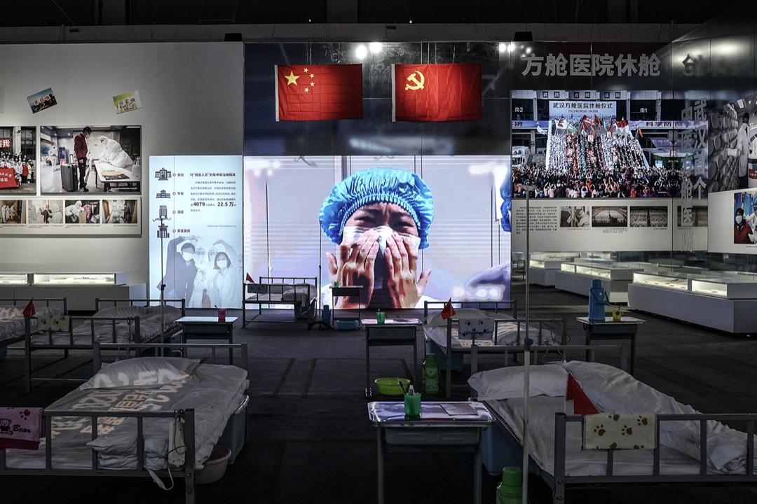 2020年10月15日,武漢一個展覽館展出有關2019冠狀病毒抗疫過程的展覽。