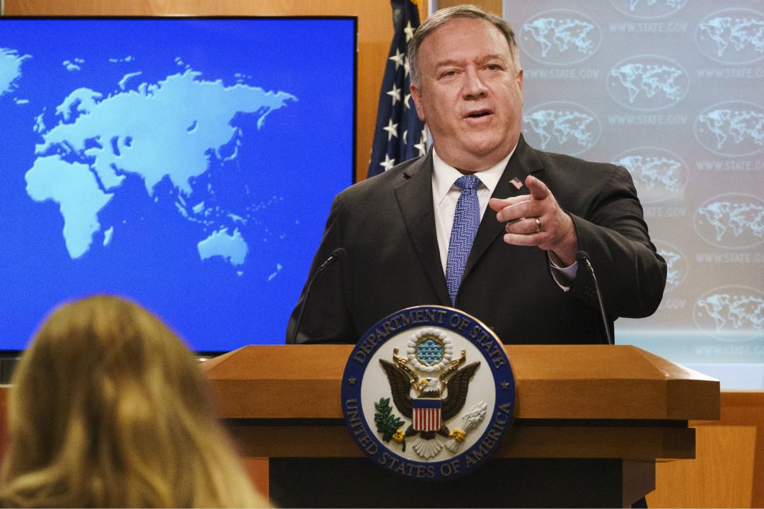 2020年11月10日,美國國務卿蓬佩奧(Mike Pompeo)出席記者會。 攝:Jacquelyn Martin/AP Photo