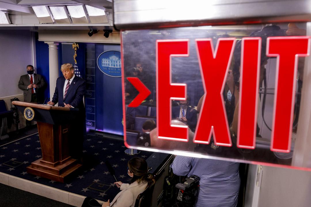 2020年11月5日美國華盛頓白宮,美國總統特朗普於新聞發布會上談及2020年美國總統大選的結果。