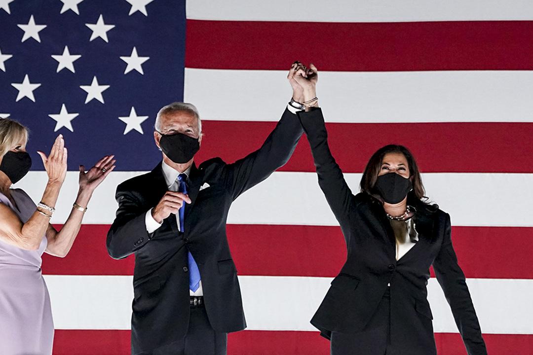 2020年8月20日威爾明頓,民主黨副總統候選人喬·拜登(Joe Biden)和民主黨副總統候選人參議員賀錦麗在民主黨全國代表大會期間。
