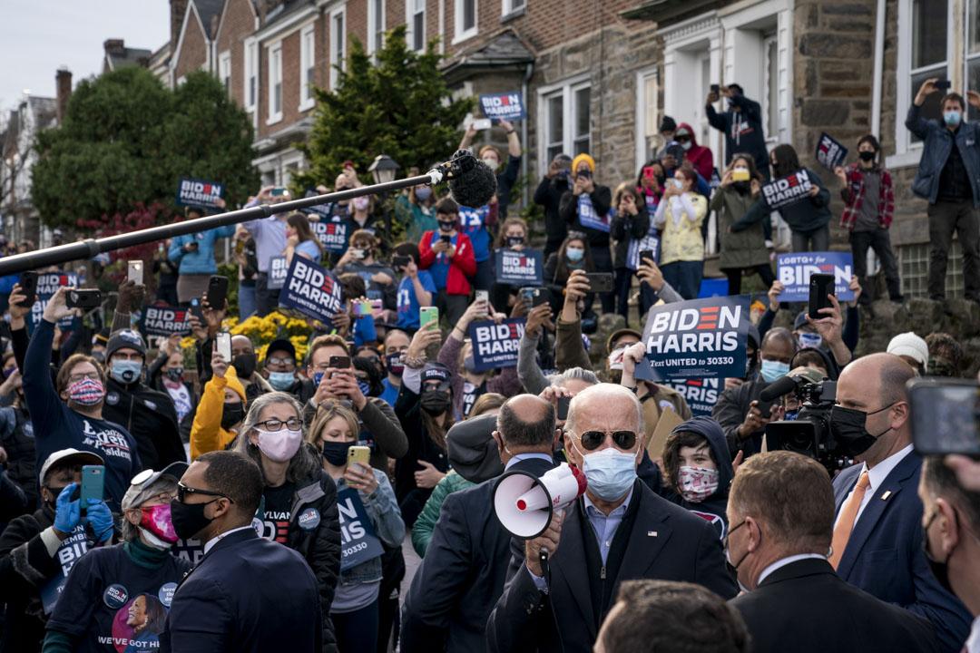 2020年11月03日費城,民主黨總統候選人喬・拜登的集會。