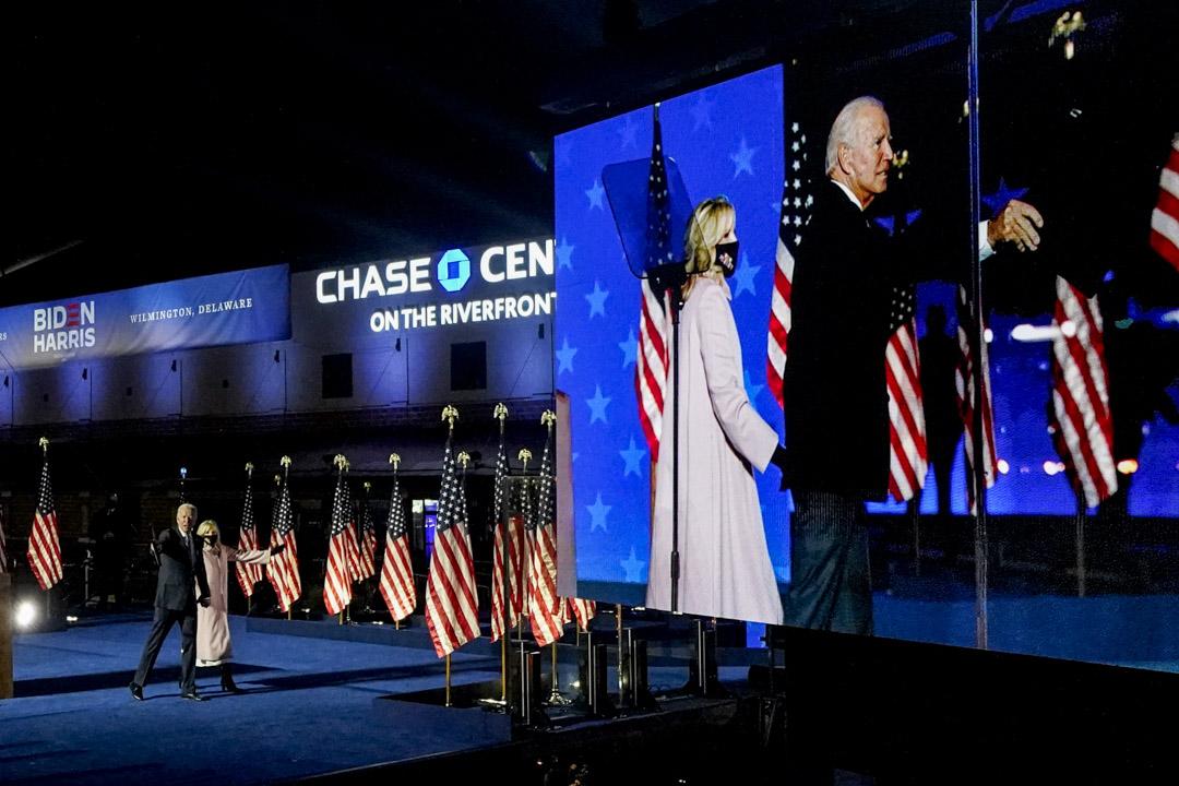2020年11月4日,特拉華州威爾明頓,民主黨總統候選人拜登發表講話。
