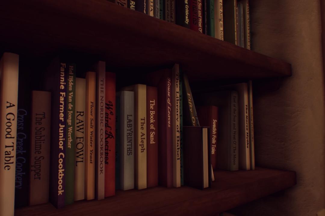 遊戲中的書架。