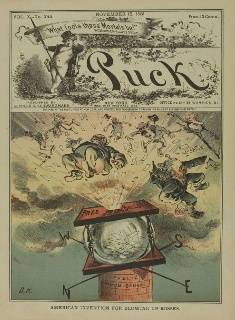 1881年美國報紙,一則關於透明選票箱防範舞弊的漫畫