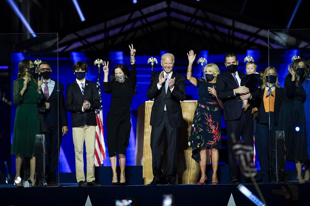 2020年11月7日,美國特拉華州威爾明頓,拜登發表勝利演說。