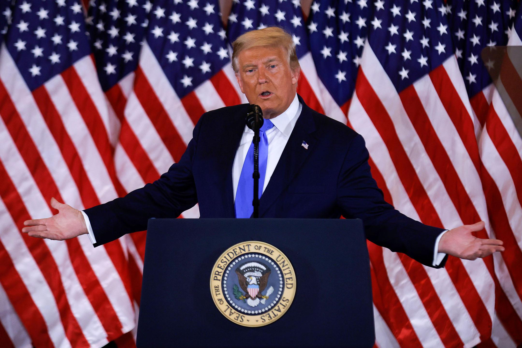2020年11月4日美國華盛頓白宮,美國總統特朗普就美國總統大選的初步結果發表講話。