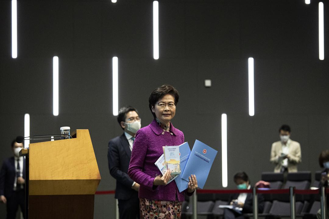 2020年11月25日,香港特首林鄭月娥發表任內第四份施政報告。 攝:陳焯煇 / 端傳媒