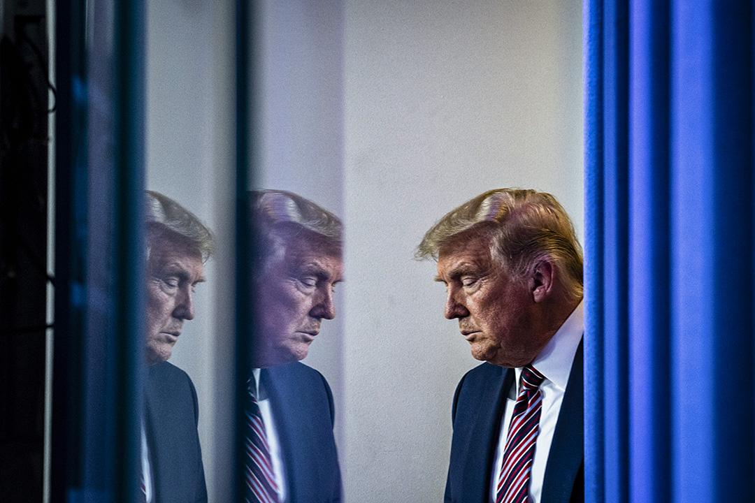2020年11月20日華盛頓,特朗普總統在白宮的新聞發布會上。