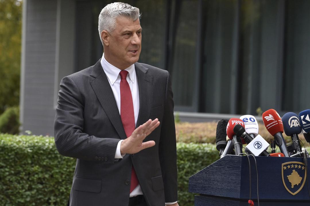 2020年11月5日,科索沃總統科索沃總統薩奇(Hashim Thaçi)召開記者會宣佈辭職。 攝:Laura Hasani / Reuters