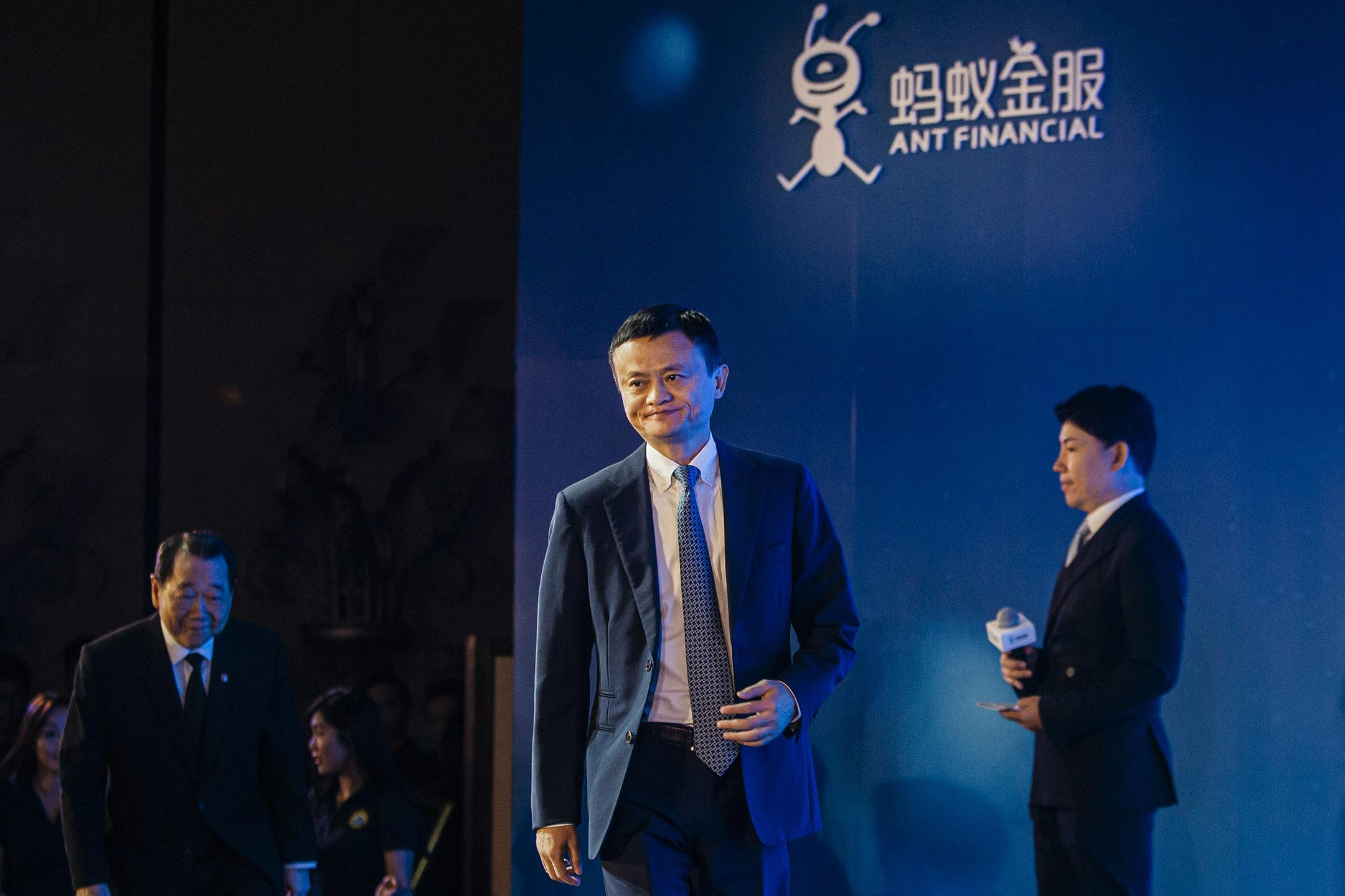 2016年11月1日香港,阿里巴巴集團董事長馬雲參加新聞發布會。 攝:Anthony Kwan/Bloomberg via Getty Images