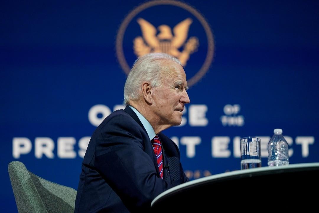 2020年11月23日,美國當選總統拜登舉行在線會議。 攝:Joshua Roberts/Reuters