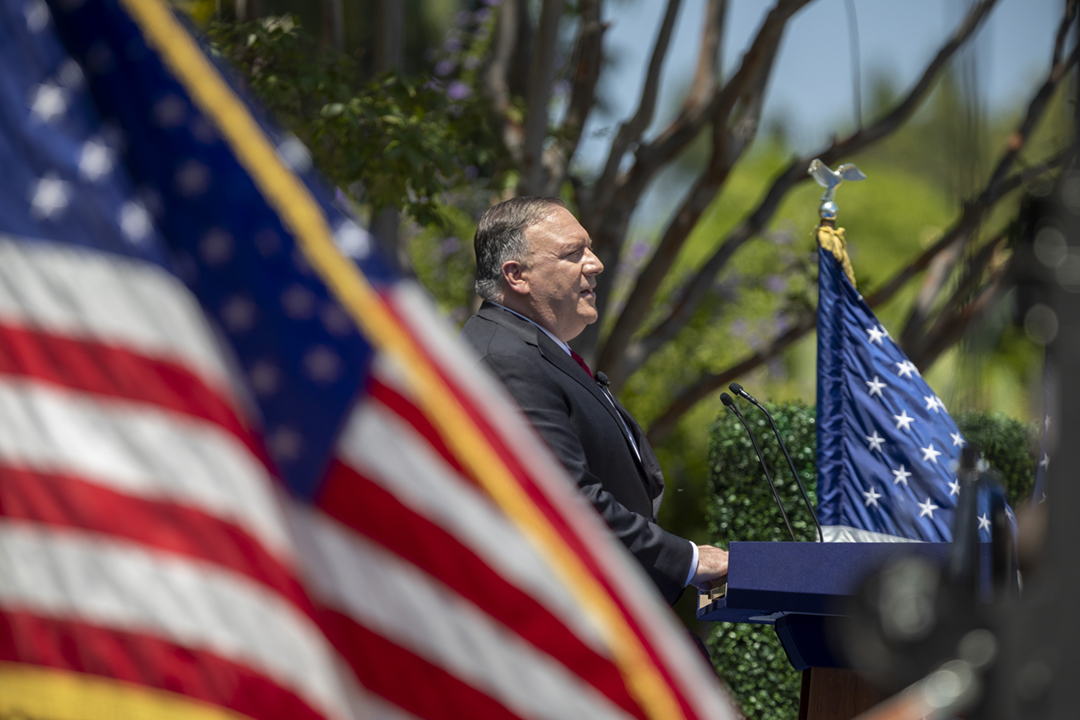 2020年7月23日在尼克遜總統圖書館暨博物館,美國國務卿蓬佩奧(Mike Pompeo)發表題為《中共與自由世界之未來》的演講。 攝:David McNew / Getty Images