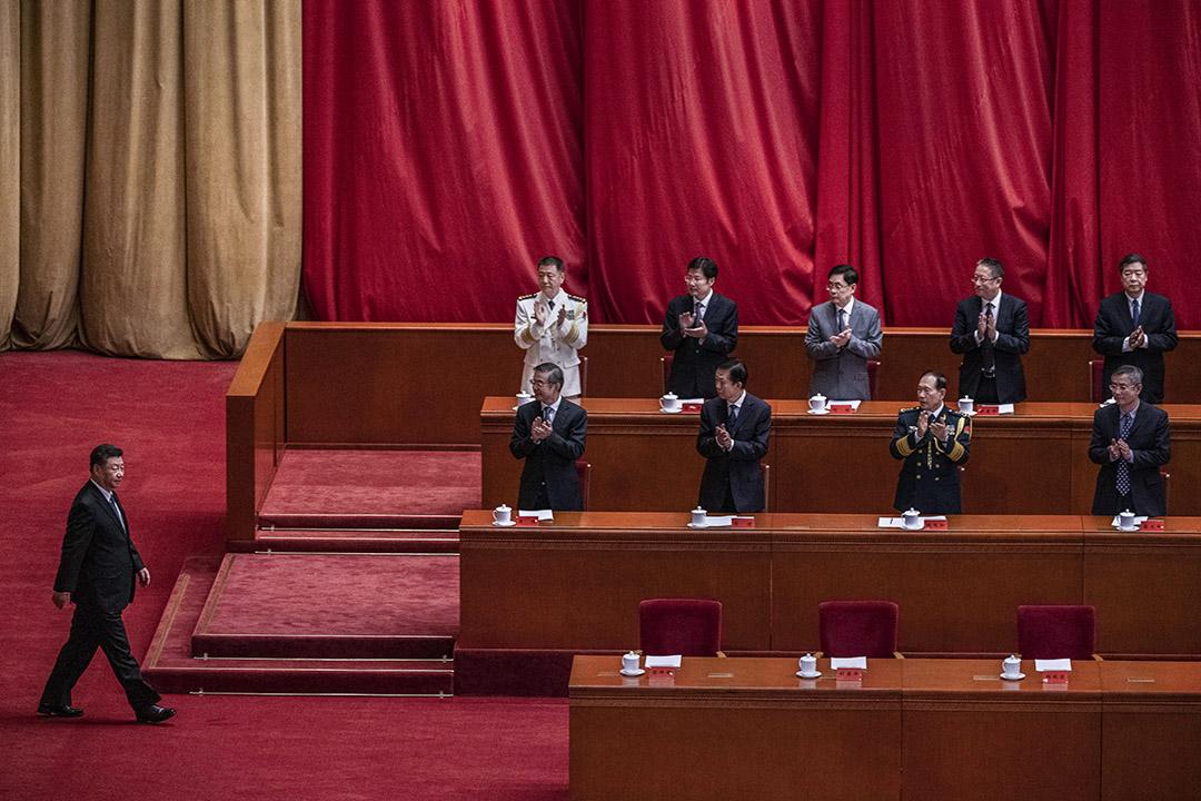 2020年10月23日中國北京,中國國家主席習近平在中國舉行的慶祝中國抗戰勝利70週年的儀式上。