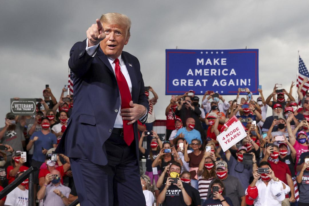2020年9月8日,美國總統特朗普在美國北卡羅來納州舉行的競選活動中。 攝:Jonathan Ernst/Reuters/達志影像