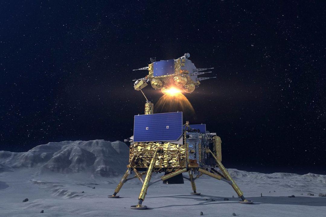 嫦娥五號上升器從月球表面升空模擬圖。 圖片來自中國國家航天局網頁