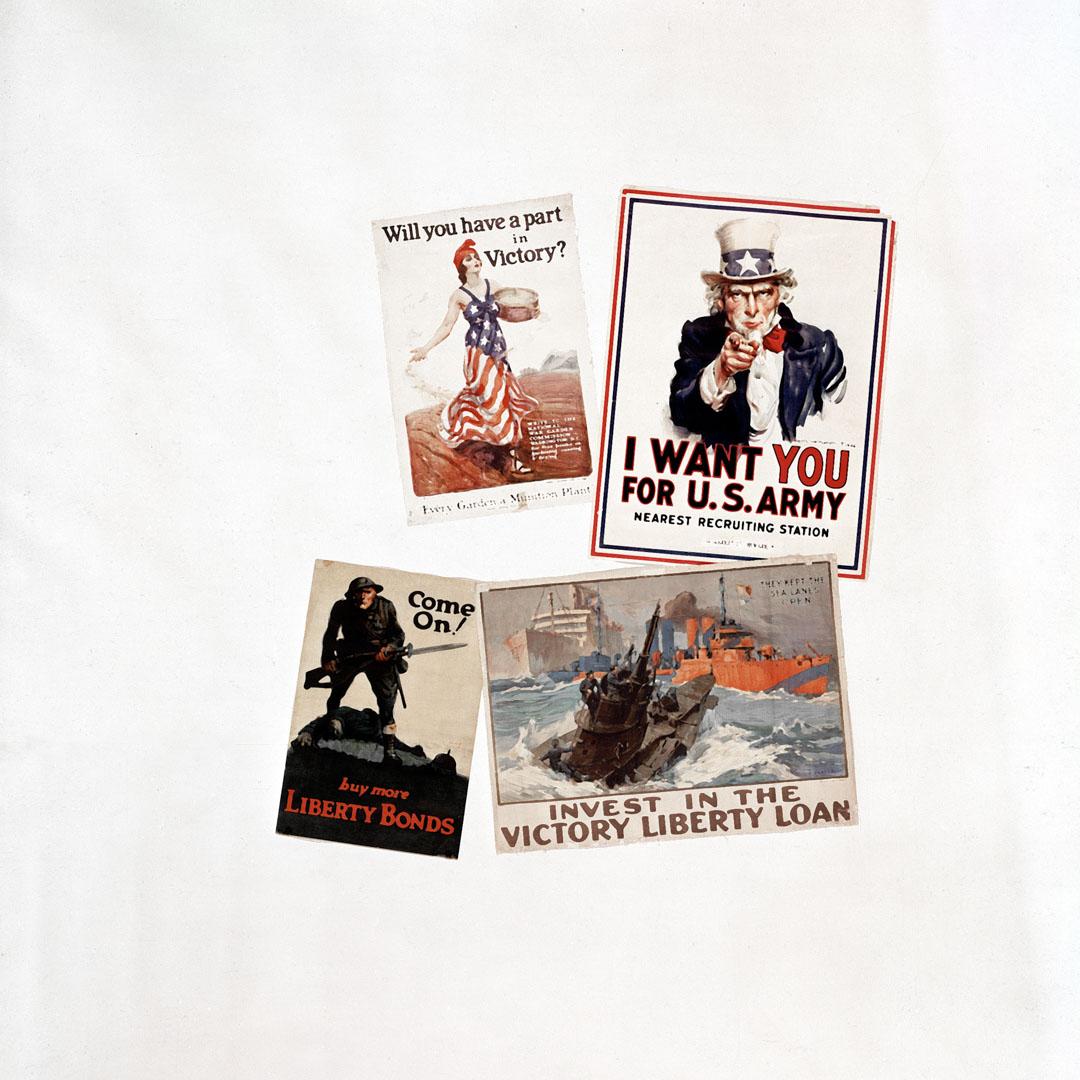 四幅來自第一次世界大戰的美國海報。
