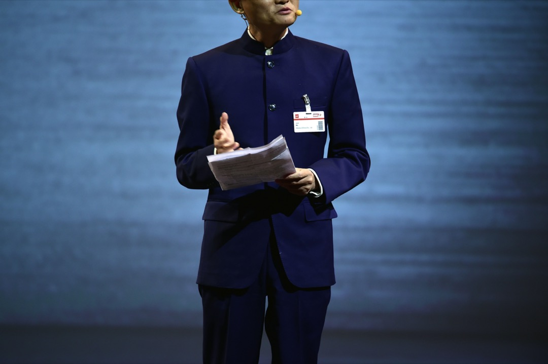 2015年3月15日,阿里巴巴集團行政總裁馬雲在德國漢諾威CeBIT資訊及通訊科技博覽會上發布講話。 攝:Alexander Koerner/Getty Images