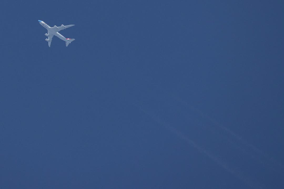 2020年9月1日,一架波音747貨機在希臘上空飛行。