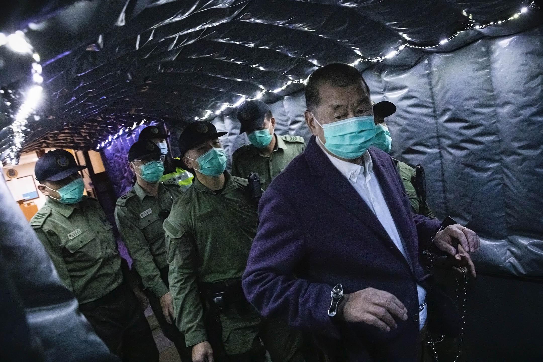 2020年12月31日,黎智英由終審法院還押候審。 攝:陳焯煇/端傳媒