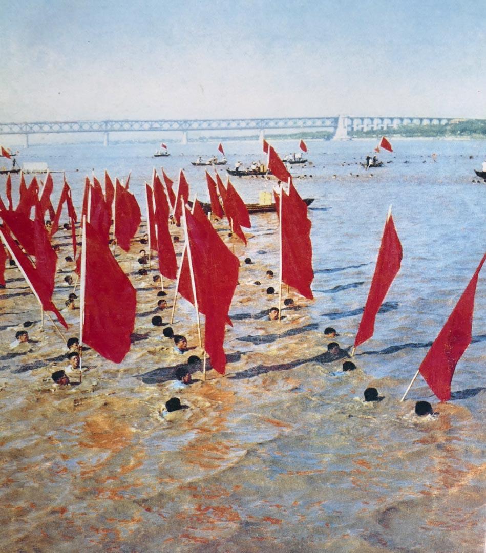 1967年,文化大革命期間,紅衛兵攜紅旗在長江中游泳。