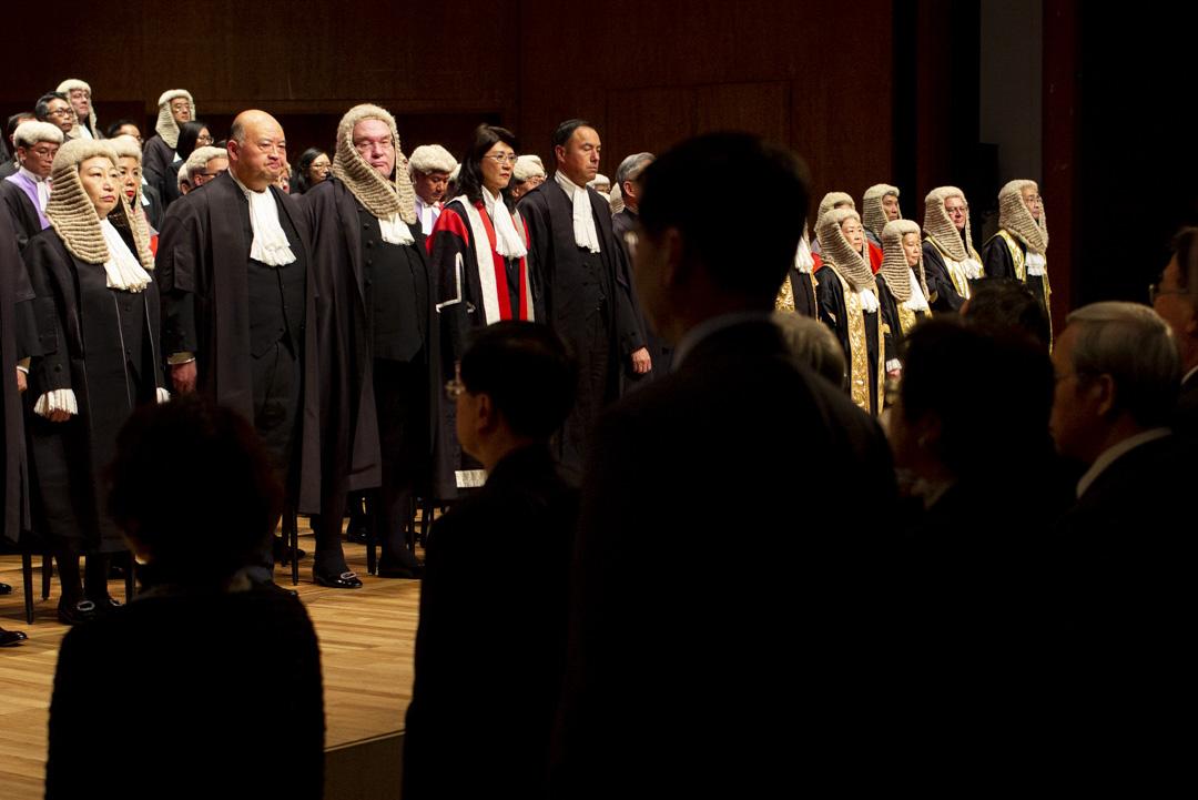 2019年1月14日,法律年開幕禮,律政司司長鄭若驊、終審法院首席法官馬道立及大律師公會主席戴啟思。