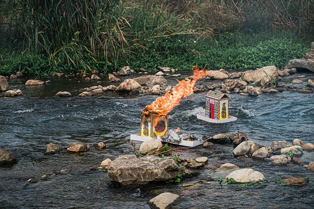 埔里祈安清醮,由主壇恒吉宮進行「放水燈」儀式。