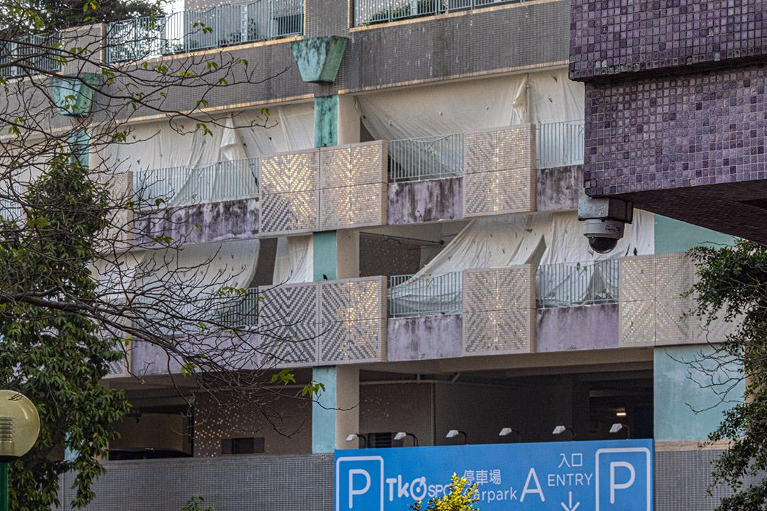 將軍澳尚德停車場外廣明苑的閉路電視。