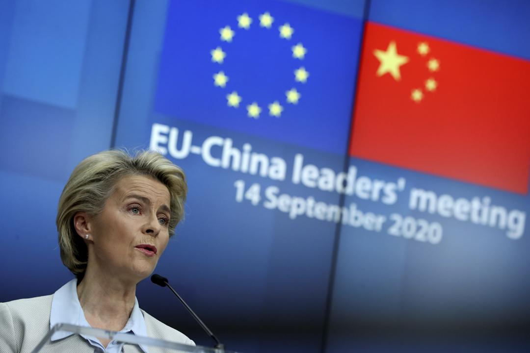 2020年9月14日,歐盟及中國舉行領導人視像會議後,歐盟委員會主席馮德萊恩(Ursula von der Leyen)召開記者會。 攝:Yves Herman / Reuters