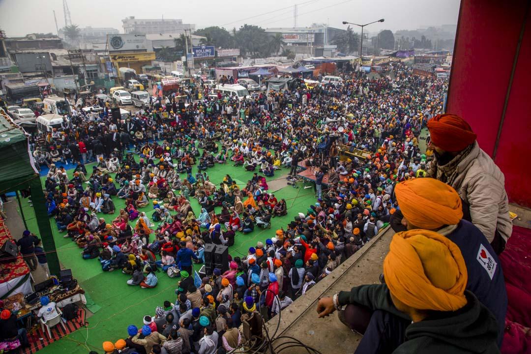 2020年12月12日,印度新德里農民的一次抗議集會。